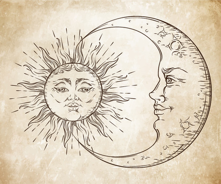 Antique style hand drawn art sun and crescent moon. Boho chic tattoo design vector illustration