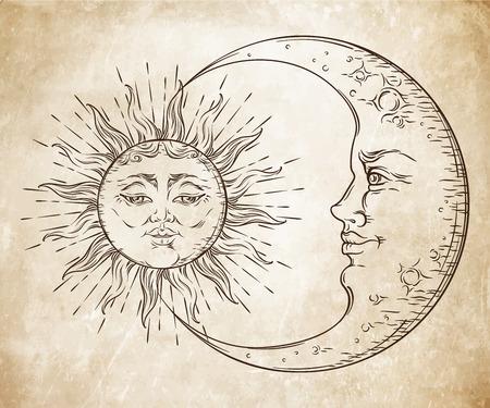 main de style antique art dessiné soleil et croissant de lune. Boho tatouage chic, design vector illustration