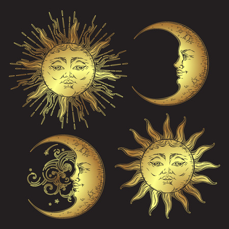 Antique style hand drawn art sun and crescent moon set. Boho design vector golden isolated on black background Vectores