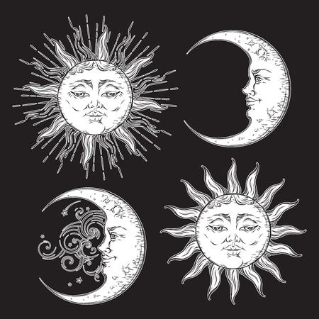 Antieke stijl handgetekende kunst zon en halve maan set. Boho ontwerp vector wit geïsoleerd op zwarte achtergrond