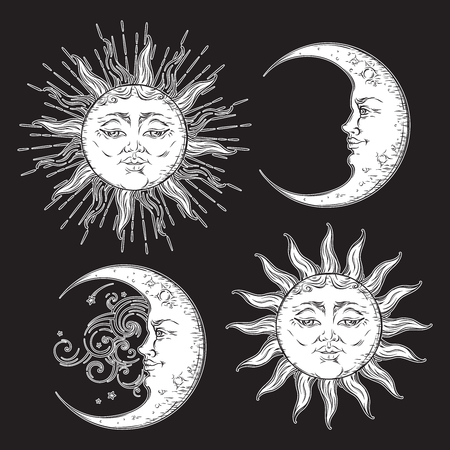 celestial: Antique style hand drawn art sun and crescent moon set. Boho design vector white isolated on black background