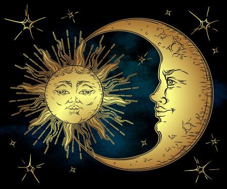 main de style antique art dessiné soleil d'or, croissant de lune et les étoiles sur bleu ciel noir. Boho tatouage chic, design vector illustration
