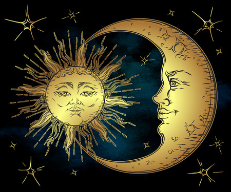 Antique style hand drawn art golden sun, crescent moon and stars over blue black sky. Boho chic tattoo design vector illustration