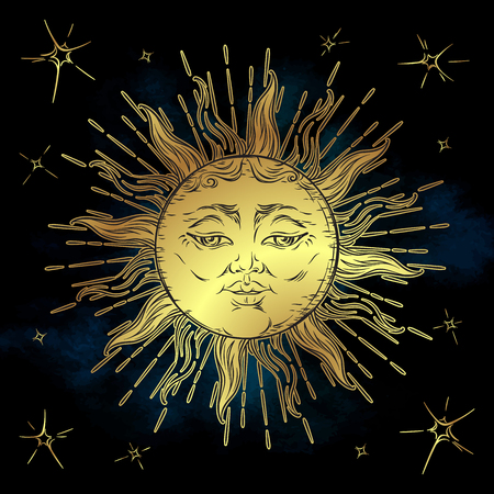 altar: Golden sun and stars vector illustration. Hand drawn boho style fabric design, astrology, alchemy, magic