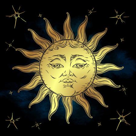 Golden sun and stars vector illustration. Hand drawn boho style fabric design, astrology, alchemy, magic
