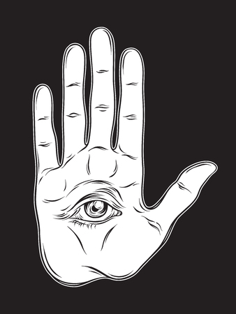 Spiritual hand with the allseeing eye on the palm. Occult design vector illustration Illustration