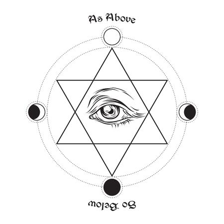 Ojo de la Providencia, en el centro del hexagrama. Como es arriba, es abajo - es una máxima en la geometría sagrada o hermetismo. Dibujado a mano ilustración vectorial de estilo esotérica medieval.