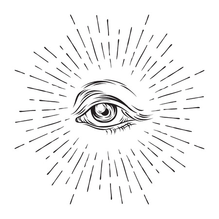 Hand-drawn grunge sketch Eye of Providence. Masonic symbol. All seeing eye. New World Order. Alchemy, religion, spirituality, occultism vector illustration. Çizim