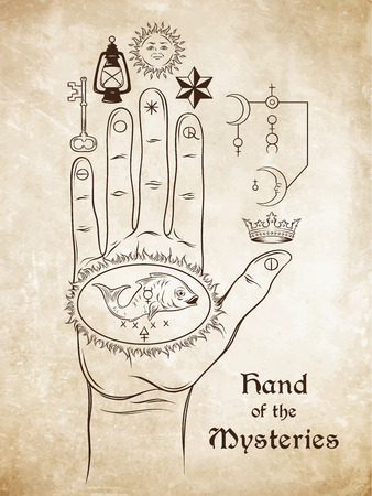 The hand of the Mysteries. The alchemical symbol of apotheosis, the transformation of man into god. Tattoo or poster print design. Hand drawn medieval esoteric style vector illustration.