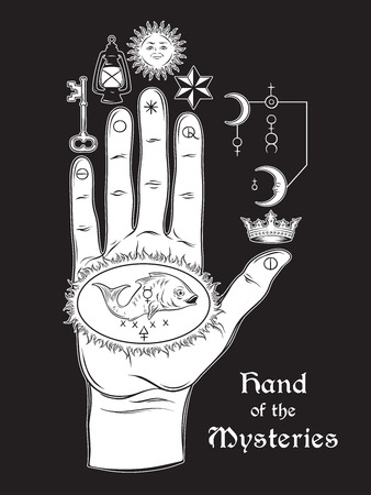 palmistry: The hand of the Mysteries. The alchemical symbol of apotheosis, the transformation of man into god. Tattoo or poster print design. Hand drawn medieval esoteric style vector illustration.