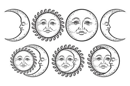自由奔放に生きるフラッシュのタトゥーのデザインの手描き下ろしアート太陽と三日月のセット。白い背景に分離されたアンティーク スタイル デザ