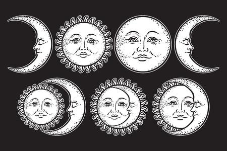 Boho flash tattoo design dessin artisanal dessinée et ensemble de lune croissante. Vecteur de conception d'autocollant de style antique isolé sur fond noir