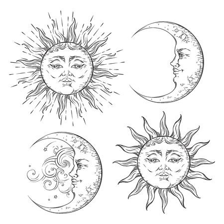 Boho Flash conception de tatouage dessiné à la main art soleil et ensemble croissant de lune. vecteur de conception de style antique isolé sur fond blanc