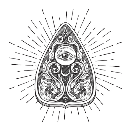 Hand drawn ouija board mystifying oracle planchette isolated. Antique style boho chic sticker, tattoo or print design vector illustration  イラスト・ベクター素材