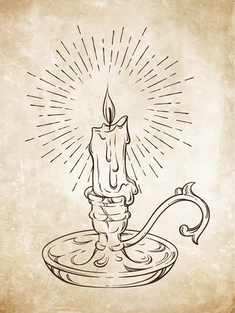 candelabrum: Hand drawn burning candle in candlestick with rays of light vector illustration