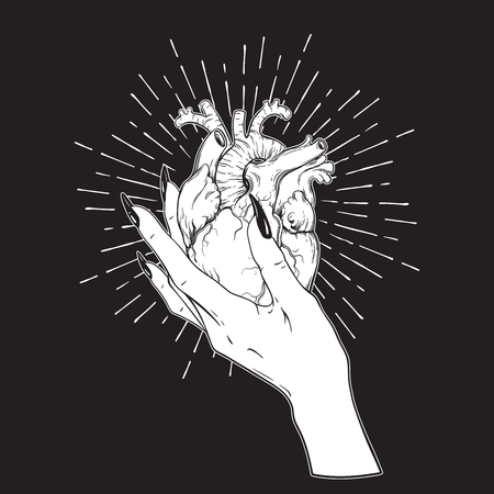 sacred heart: Human heart in graceful female hand isolated. Sticker, print or blackwork tattoo hand drawn vector illustration. Illustration