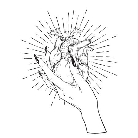 Human heart in graceful female hand isolated. Sticker, print or blackwork tattoo hand drawn vector illustration. Ilustração