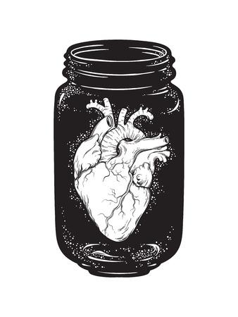 分離したガラス瓶の中の人間の心。ステッカー、印刷またはブラックワーク タトゥー手描きのベクター イラストです。  イラスト・ベクター素材