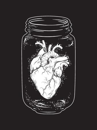 Human heart in glass jar isolated. Sticker, print or blackwork tattoo hand drawn vector illustration. Zdjęcie Seryjne - 74800547
