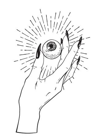 Human eyeball in female hand isolated. Sticker, print or blackwork tattoo hand drawn vector illustration.