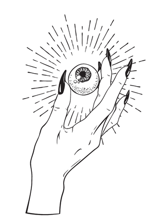 Human eyeball in female hand isolated. Sticker, print or blackwork tattoo hand drawn vector illustration.