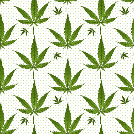 A Seamless pattern medical marijuana green leafs over polka dots on white background. Cannabis vector illustration