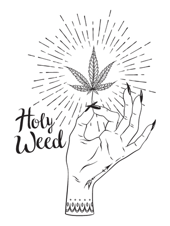 Marijuana leaf in female hand isolated over white background. Blackwork tattoo or print design cannabis vector illustration.
