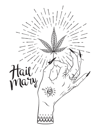 Marijuana leaf in female hand isolated over white backdrop