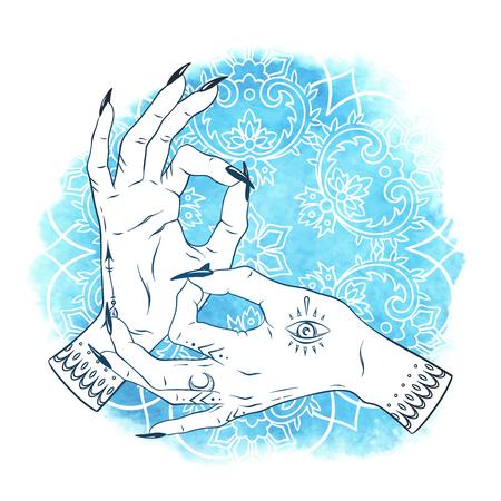 Hand drawn elegant female hands with boho tattoos over blue watercolor background with ornate mandala. Mudra Yoga print design vector illustration Illustration