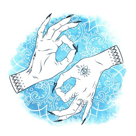 mantra: Hand drawn elegant female hands with boho tattoos over blue watercolor background with ornate mandala. Mudra Yoga print design vector illustration.