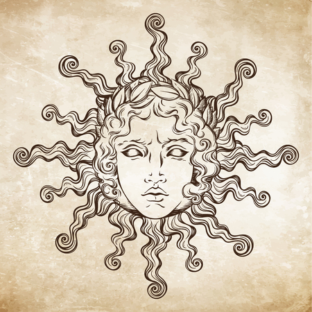 Hand getekende antieke stijl zon met gezicht van de Griekse en Romeinse god Apollo. Flash tattoo of print ontwerp vector illustratie.