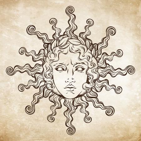 Le soleil de style antique dessiné à la main avec le visage du dieu grec et romain Apollon. Un tatouage instantané ou une illustration vectorielle de dessin imprimé.