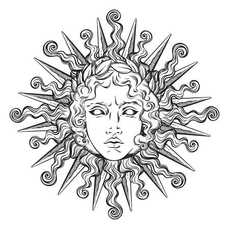 Dibujado a mano antiguo estilo sol con la cara del dios griego y romano Apolo. Ilustración del vector del diseño del tatuaje o de la impresión del flash.