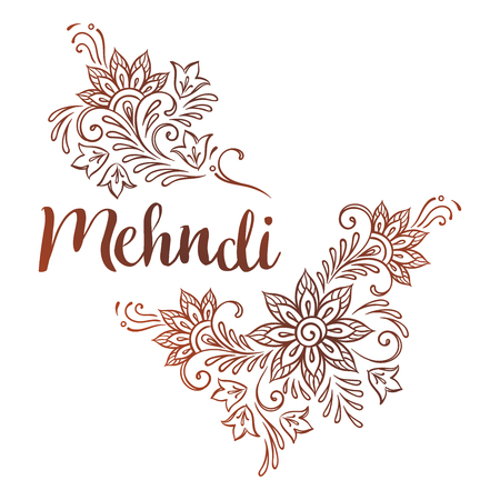 Hand drawn template for mehndi ornate ethnic ornament or flash tattoo design vector illustration