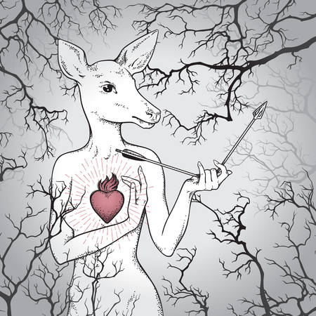 Hand drawn deer with human body and burning heart holding broken arrow in the misty forest. Line art and dot art print design vector illustration.