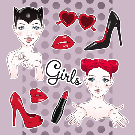 Stickers set cartoon girls and accessories - high heeled shoes, heart shaped glasses, glossy lips and lipstick over cute purple polka dot background. Hand drawn design vector illustration. Illustration