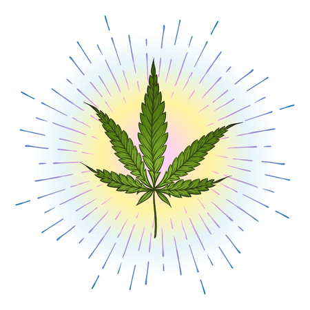 Marijuana green leaf with bright colorful rays of light over white background. Cannabis vector illustration Иллюстрация