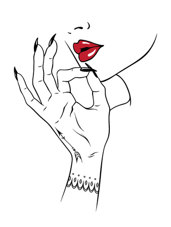 흰색 배경에 고립 된 흡연 제스처에 손가락을 들고 손으로 그린 된 젊은 여자. 플래시 문신 또는 인쇄 디자인 대마초 벡터 일러스트 레이 션.