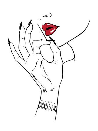Main dessinée jeune femme tenant les doigts en fumant le geste isolé sur fond blanc. Flash tatouage ou illustration de vecteur de cannabis design imprimé.