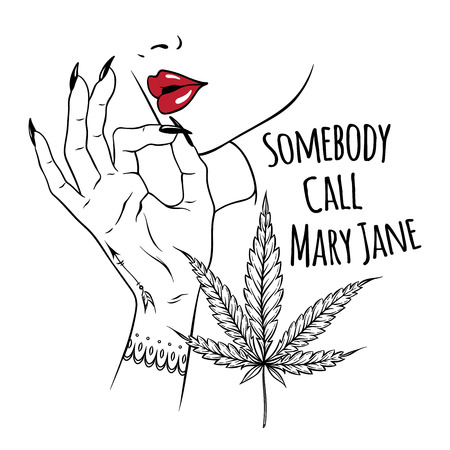 Hand drawn young woman holding fingers in smoking gesture isolated on white background. Flash tattoo or print design cannabis vector illustration.