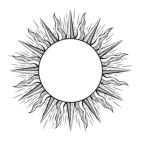 Hand drawn etching style frame in a shape of sun rays vector illustration.
