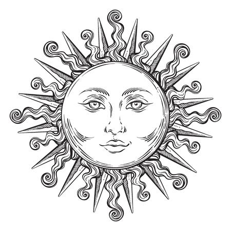 Antique style hand drawn art sun. Boho chic tattoo design vector illustration 矢量图像