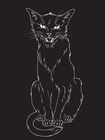 Hand drawn black cat isolated over black background. Wiccan familiar spirit, pagan witchcraft theme design vector illustration