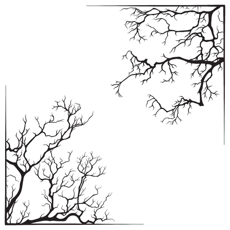 Branch borders halloween black and white print design vector illustration. Ilustracja