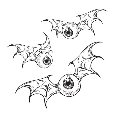 Flying eyeballs with creepy demon wings black and white halloween theme print design hand drawn vector illustration. Иллюстрация
