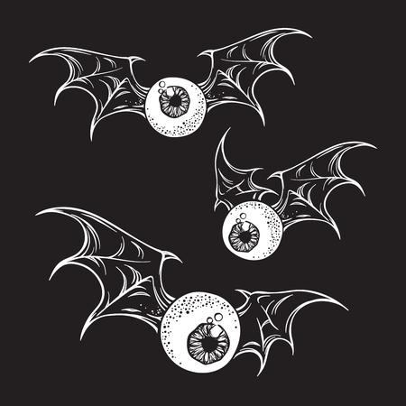 printmaking: Flying eyeballs with creepy demon wings black and white halloween theme print design hand drawn vector illustration. Illustration