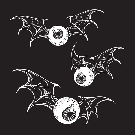 Flying eyeballs with creepy demon wings black and white halloween theme print design hand drawn vector illustration. Illustration