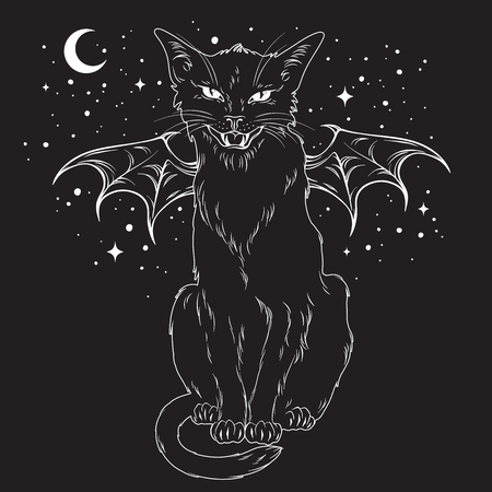 Creepy black cat with monster wings over night sky with moon and stars. Wiccan familiar spirit, halloween or pagan witchcraft theme print design vector illustration