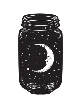 Hand drawn wish jar. Crescent moon and stars in glass jar isolated. Sticker, print or tattoo design vector illustration. 版權商用圖片 - 84684438