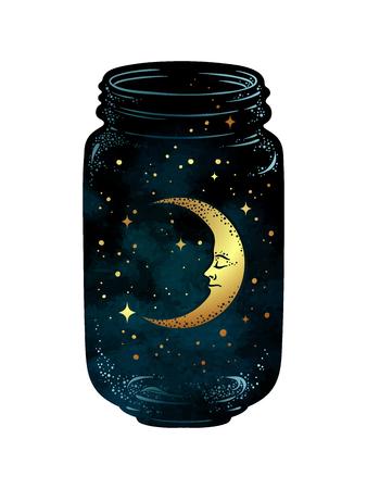 Hand getrokken wenskruik. Toenemende maan en sterren in geïsoleerde glaskruik. Sticker, afdrukken of tatoeage ontwerp vectorillustratie. Stockfoto - 84684437